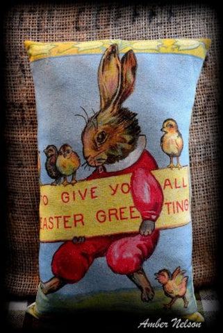 Vintage retro Bunny Rabbit and chicks Easter greetings sign pillow SEND A GIFT