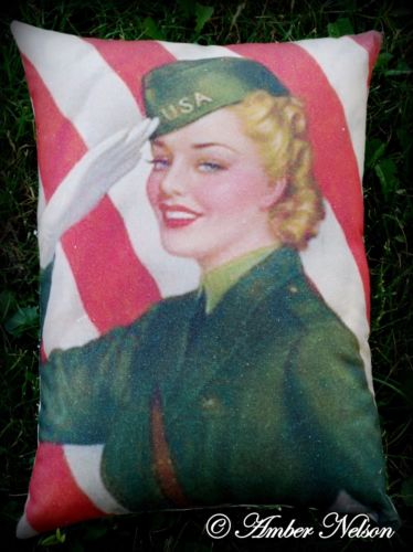 4th of July USA pinup Army Service pinup pillow American Flag Air force woman