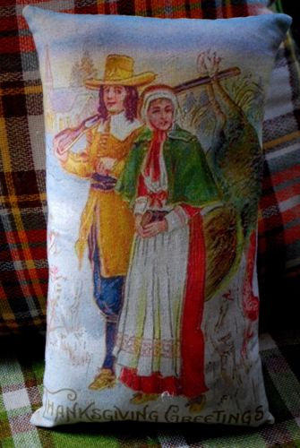 vintage Thanksgiving pilgrim couple turkey hunting antique pc cozy fall pillow
