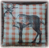 Christmas Santa Claus Reindeer Elk Deer cabin winter Country rustic throw pillow