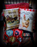 Yellow red gingham fresh eggs sign pillow hen rooster french country farmhouse