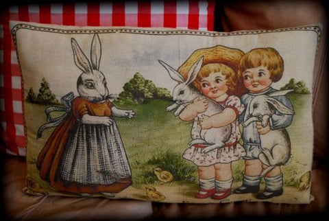 Vintage story book momma bunny rabbit Easter spring children pillow chicks