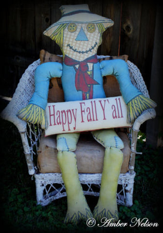 Happy Fall Garden door bench porch harvest Happy Yall Halloween scarecrow HUGE