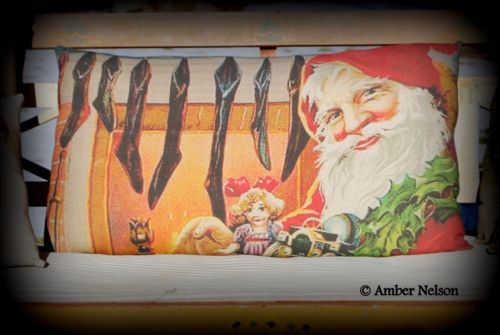Smiling vintage Santa Claus fireplace antique old black stockings pillow