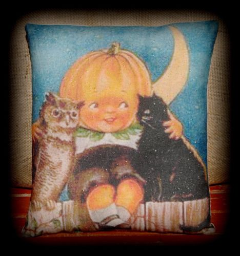 Halloween black cat primitive Pumpkin jack o lantern boy owl friends pillow