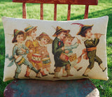 Patriotic vintage children in costume 4th of July parade old pc pillow American