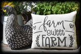 Rustic Primitive HOME SWEET FARM Farmhouse throw pillow porch swing bench decor