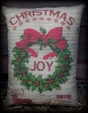 Old antique Christmas reindeer joy wreath Pillow wood look Santa Claus sign