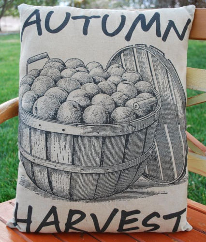 Harvest Apple basket cider fall Halloween porch bench pillow decor farm sign