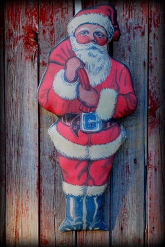 Big Vintage antique Santa Claus Door doll wreath pillow Christmas decoration