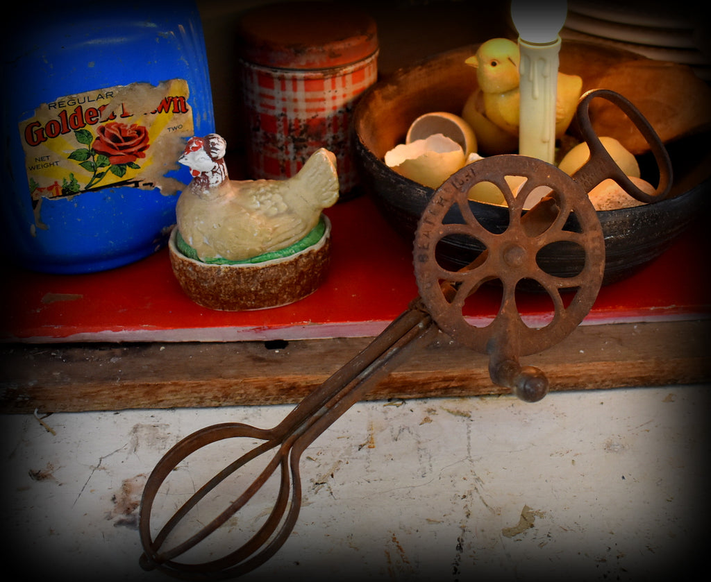 1873 Gears and rusty THE OLDEST farmhouse egg beaters EVER