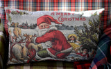 Beautiful vintage Santa Claus in sleigh pillow