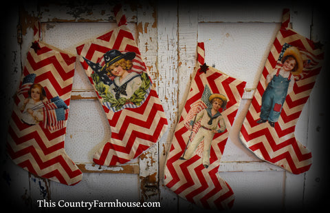 Set of vintage Altered art patriotic hearth stockings 4th of July decor