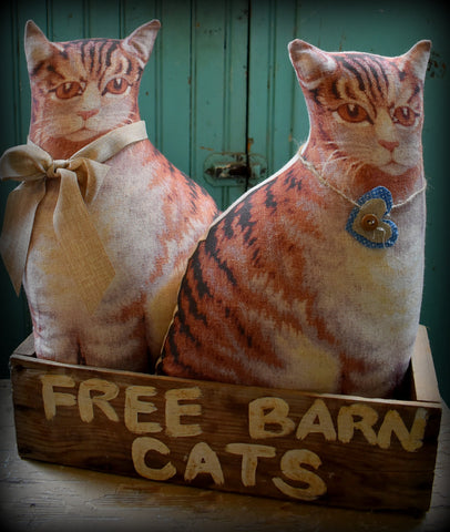 primitive style old Free barn cats box with two kitties ONE OF A KIND set