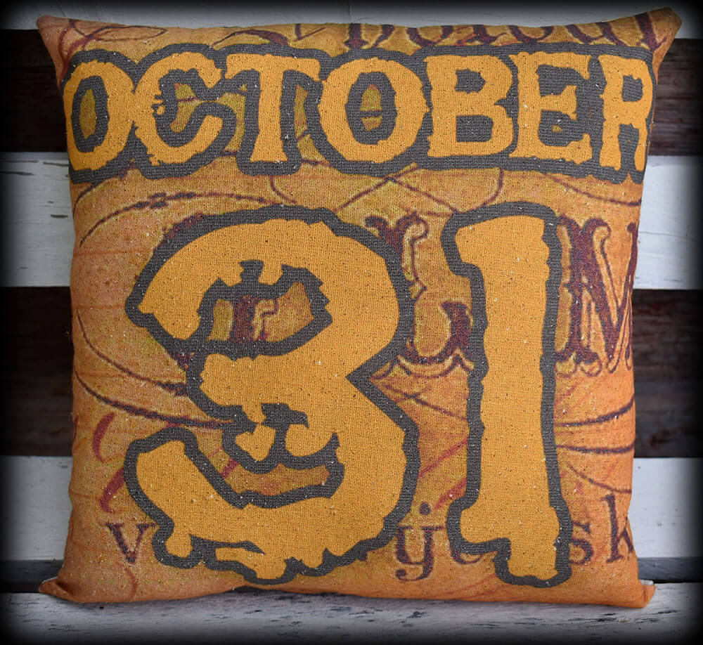 Halloween entry way porch pillow throw October Oct 31 date sign tuck party decor