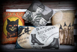 Halloween entry way porch pillow witch photo costumes witch party decor antique