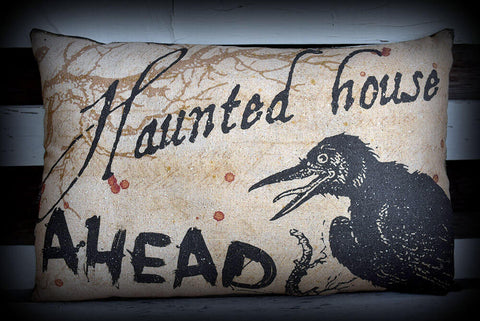 Halloween entry way porch throw pillow Haunted House Spooky Crow Raven Blood