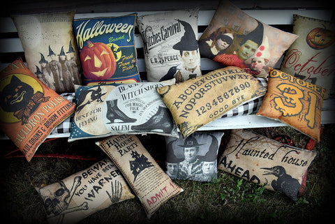 Halloween entry way porch throw pillow antique vintage pumpkin label witch jol