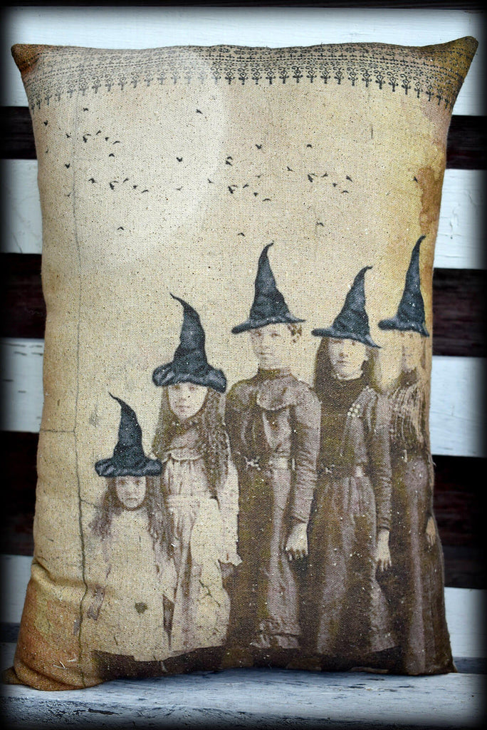 Halloween entry way porch throw pillow antique photo pillow witch sisters old