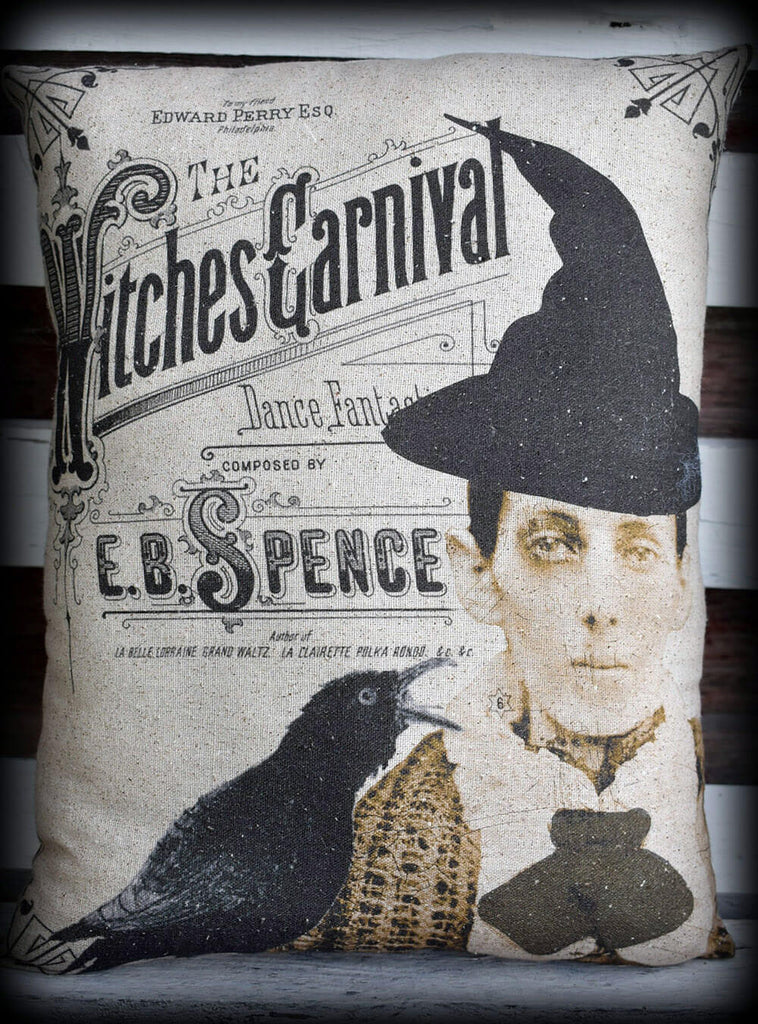 Halloween entry way porch throw pillow antique photo witch spooky creepy crow