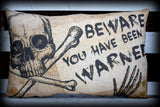 Halloween entry way porch throw pillow beware sign warned skull party decoration