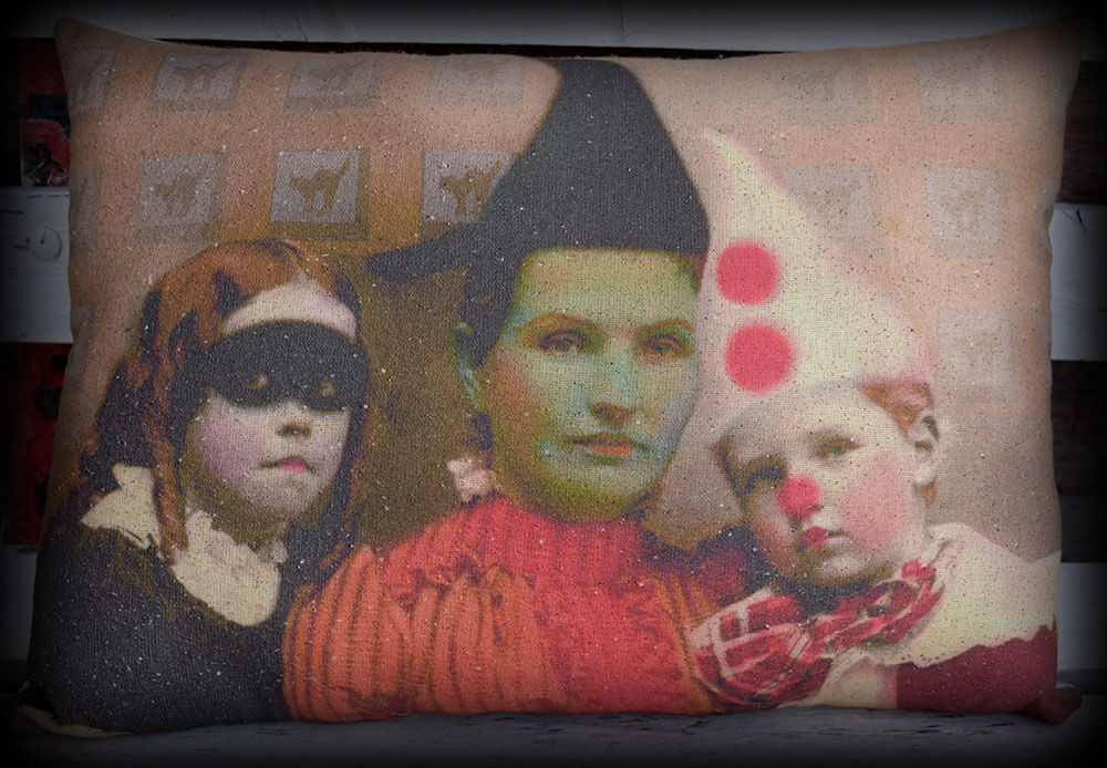 Halloween spooky entry way porch pillow witch kids photo costumes party decor