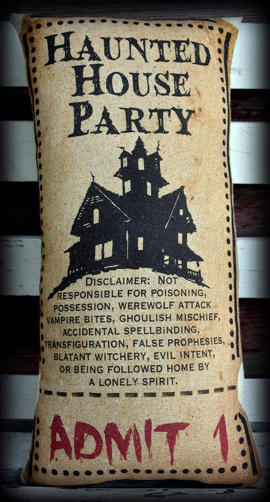 Halloween haunted house ticket pillow