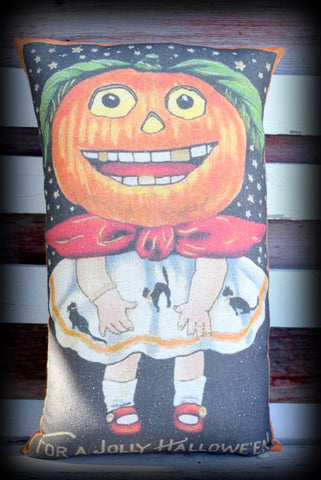 DARLING jack o lantern girl in party dress Halloween pillow vintage old world postcard graphics