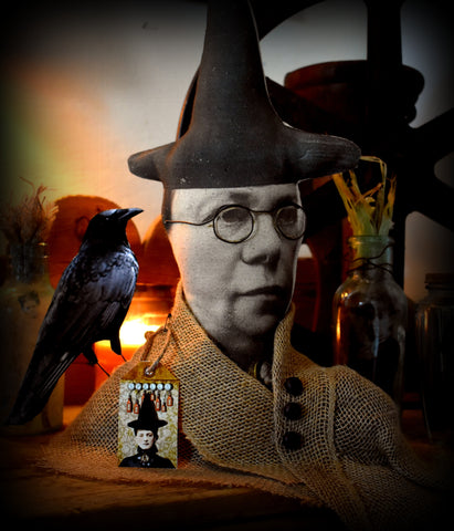"""Margaret"" and her raven crow altered art Halloween Fall Autumn  bust doll"
