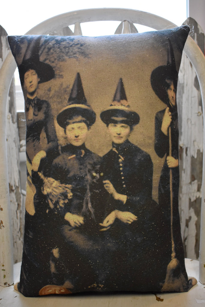 Halloween Witch Witches coven photo pillow party decor old antique pumpkin cat