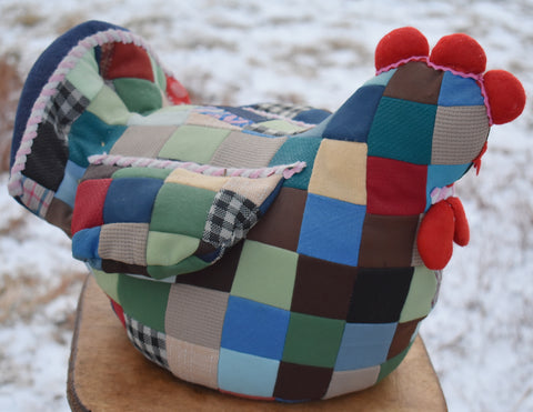 The BEST vintage quilted chickie chicken door stop