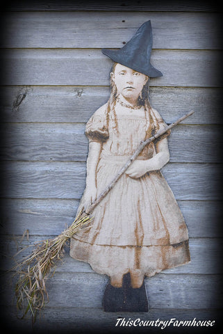 Spooky primitive door wreath hanger child witch broom hat old antique photo stand up board display Halloween porch tuck early farmhouse