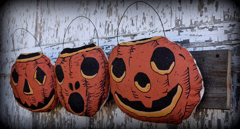 Antique old style Halloween pumpkin jack o lantern vintage buckets wall hanging