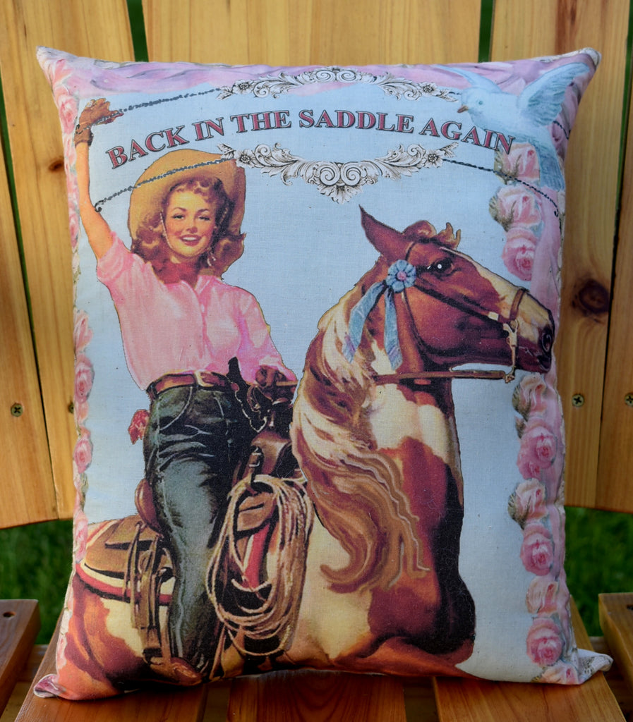 Back in the saddle again pinup girl cowgirl pillow