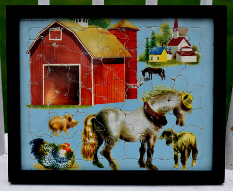 Darling 1950's farm puzzle bright happy donkey with hat framed under glass