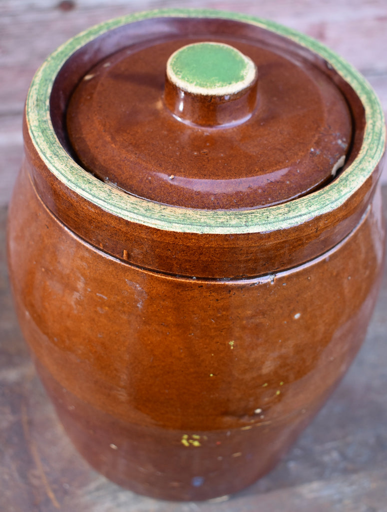 Farmhouse old antique cookie jar bean pot redware with old green paint