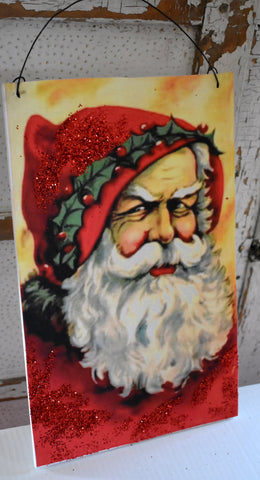 German old Christmas antique Santa Claus belsnickle peg rack hanger picture