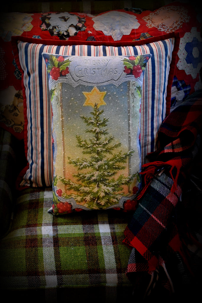 Vintage Christmas big star tree pillow old antique postcard throw pillow bright