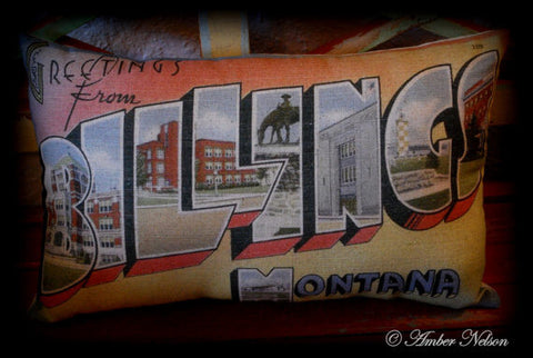 Antique western old west Vintage Billings postcard Montana Throw Pillow cabin decor memory keepsake
