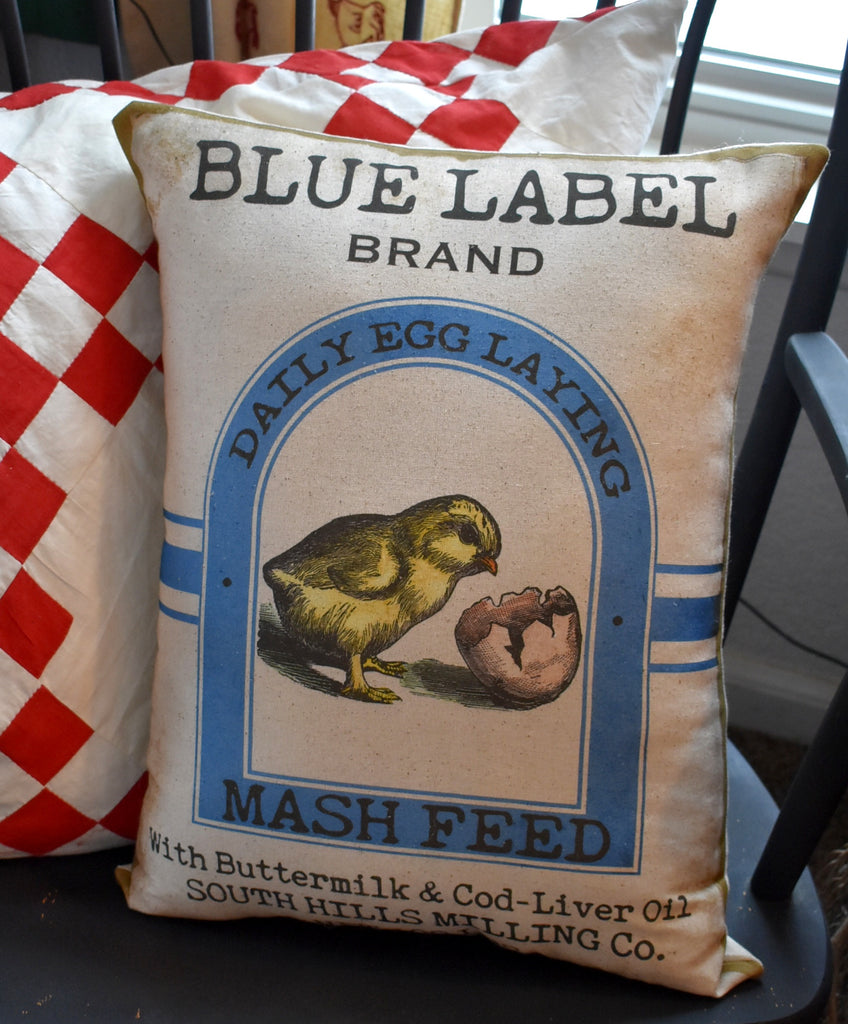 XXL Blue Label Chick feed Chicken bag sack pillow large BEAUTIFUL! farmhouse decor