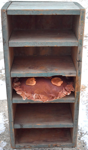 Old blue paint primitive pie safe cupboard