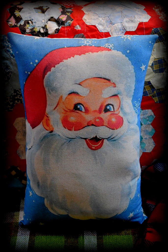 Beautiful Blue snowflakes vintage retro Christmas Santa Claus throw pillow