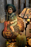 vintage stand up door hanger die cut Thanksgiving day decor boy riding turkey