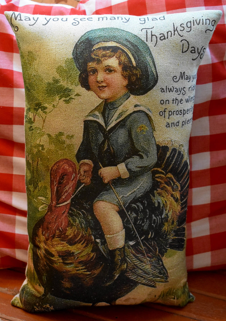 Happy Thanksgiving vintage boy riding turkey dinner throw pillow decoration gift