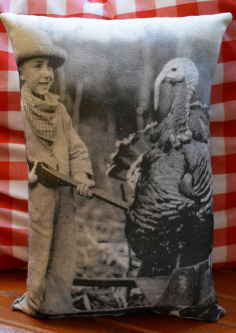 Happy Thanksgiving antique boy bb gun turkey photo throw pillow decoration gift