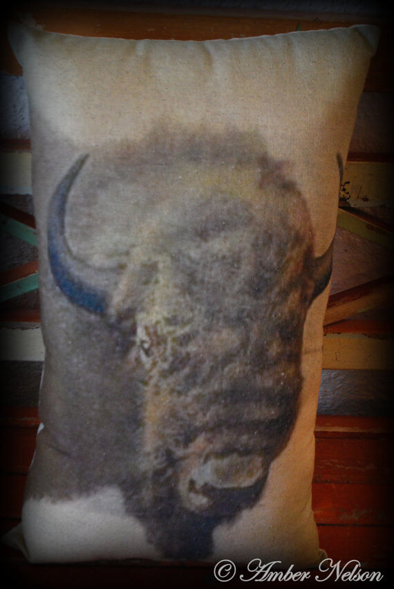 Antique western old west Vintage buffalo painting Montana Throw Pillow cabin decor Yellowstone park