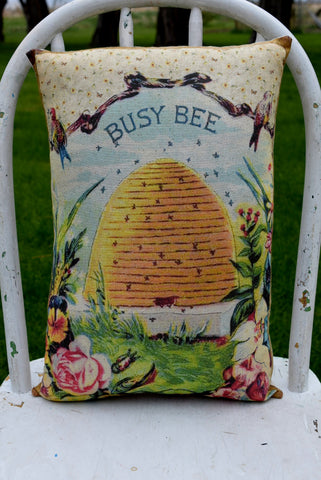 Busy Bee skep hive floral flower pillow spring summer