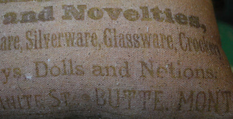 Primitive Butte Montana dry goods mercantile store pillow bee hive skep garden advertisement old antique western