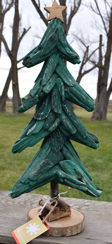 Hand carved wooden drift wood Christmas tree