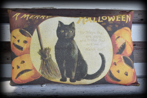 Vintage black cat and broom Jack O Lantern pumpkin Merry Halloween party decor throw pillow